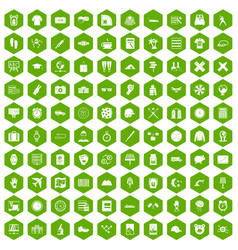 100 time icons hexagon green vector