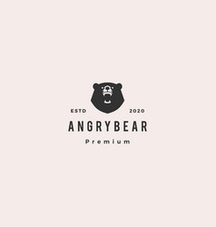 angry bear logo hipster vintage retro icon vector image