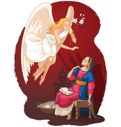 annunciation angel and mary cartoon vector image