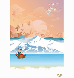 Arctic landscape with fisherman in boat at dawn vector