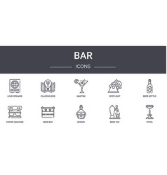 Bar concept line icons set contains icons usable vector