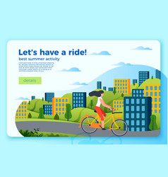 bicycle ride banner template with girl vector image