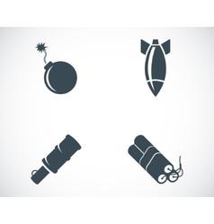 Black bomb icons set vector