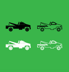 Breakdown truck icon black and white color set vector