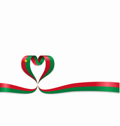 burkina faso flag heart-shaped ribbon vector image