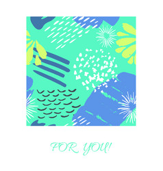 card with color ink brushes grunge pattern vector image