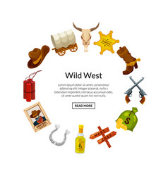 cartoon wild west elements in circle shape vector image