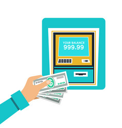 cash withdrawal from an atm vector image