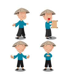 Chinese people character pose set vector
