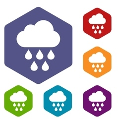 Cloud with rain drops icons set vector