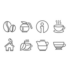 Coffee beans cappuccino and milk jug icons mint vector