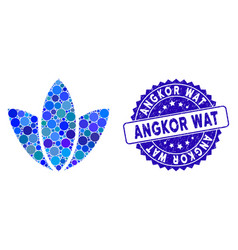 Collage flower icon with grunge angkor wat stamp vector