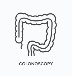 Colonoscopy flat line icon outline vector