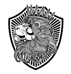 crown king llion logo black vector image