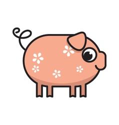 Cute cartoon pig vector