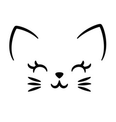 cute cat logo isolated on white vector image