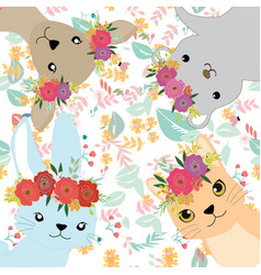 cute sweet animal and her crown vector image