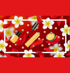 Decorative cosmetics make up accessories vector