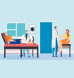 Doctor with patient in hospital vector