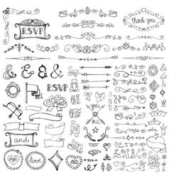 Doodle borderarrowsdecor element set vector