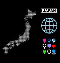 dot halftone japan map vector image