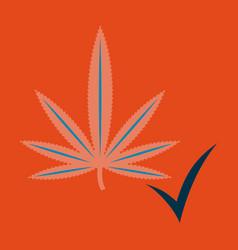 Flat hand drawn color botanical of hemp cannabis vector
