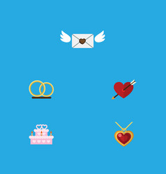 flat icon love set of patisserie ring heart and vector image