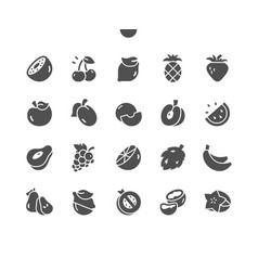 Fruits well-crafted pixel solid icons vector