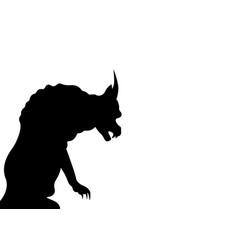 gargoyle chimera silhouette notre-dame de paris vector image