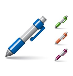 glossy colored pen icons vector image