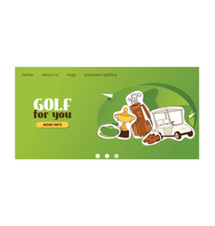 Golf web page golfers sportswear and vector