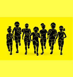Group children running together cartoon graphic vector
