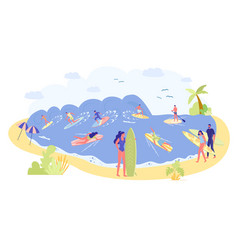 Group different surfer on clear ocean shore vector