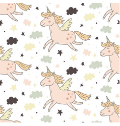 hand drawn unicorn seamless repeating pattern vector image