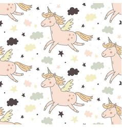 hand drawn unicorn seamless repeating pattern vector image