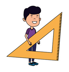 Happy student boy with rule triangle vector
