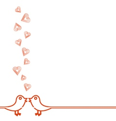Happy Valentines Day Card with Flying Hearts vector image