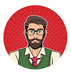 Hipster man pop art cartoon vector