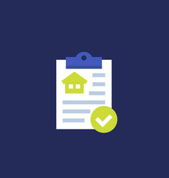 house insurance document icon flat vector image