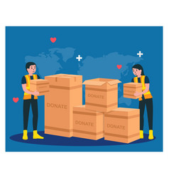 humanitarian aid help each other with donate in vector image