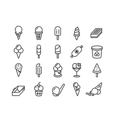 Ice cream line icons different types frozen vector
