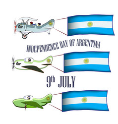 independence day of argentina set with three vector image