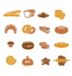 Isolated Bakery Icons Colorful Set vector image