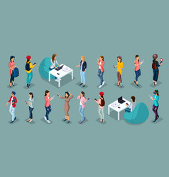 isometric person teenagers and gadgets vector image