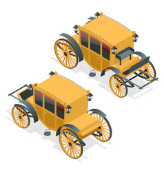 isometric retro coaches brougham icon flat vector image