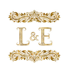 l and e vintage initials logo symbol letters vector image