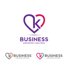 Letter k with heart outlines logo vector