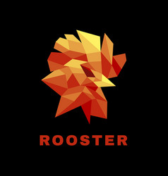 Logo rooster low poly style vector