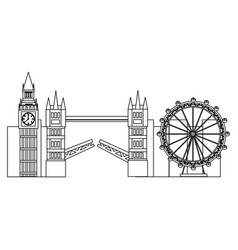 london city with famous buildings tourism england vector image