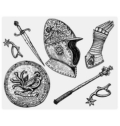 medieval symbols helmet and gloves shield vector image